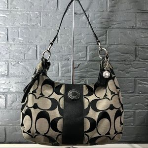 Authentic Coach Signature Stripe Convertible Hobo